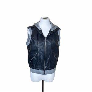 Black Vegan Leather Vest with Hood